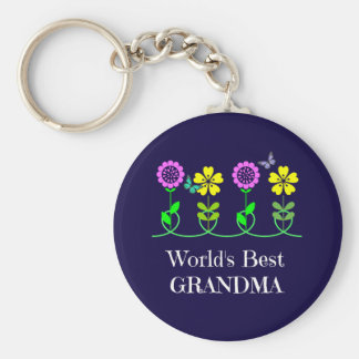 World's Best Grandma, pretty floral design Basic Round Button Key Ring