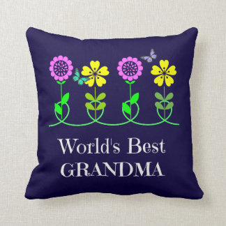 World's Best Grandma, pretty floral design Cushion