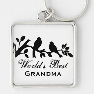 World's Best Grandma sparrows silhouette branch Key Ring
