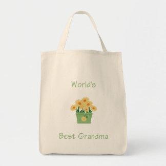 world's best grandma (yellow flowers) canvas bags