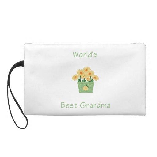 world's best grandma (yellow flowers) wristlet purse