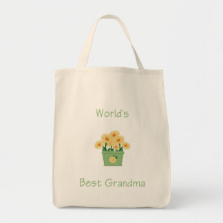 world's best grandma (yellow flowers) grocery tote bag