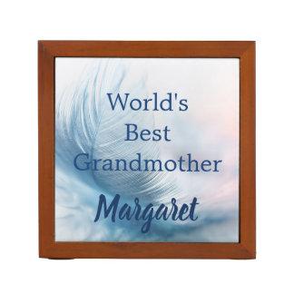 Worlds Best Grandmother Beautiful Feather Desk Organiser