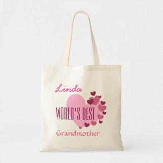 Worlds Best Grandmother Custom Name Pink Hearts A1