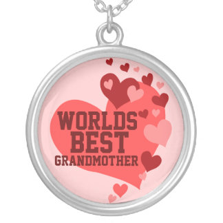 Worlds Best Grandmother (or any name) Round Pendant Necklace