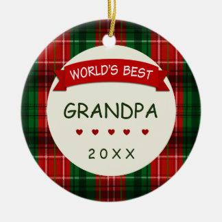 World's Best Grandpa (any name) Holiday Gift Ceramic Ornament