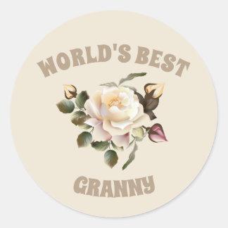World's Best Granny Round Stickers