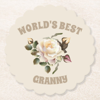 World's Best Granny Scalloped Round Paper Coaster