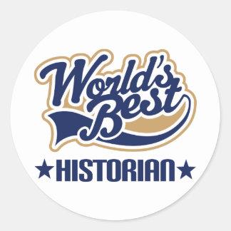 Worlds Best Historian Round Stickers