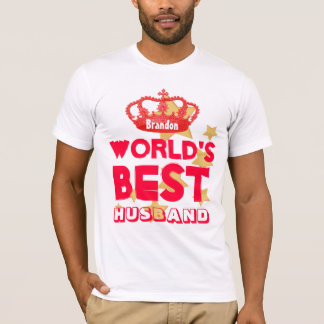 World's Best HUSBAND Red Crown and Stars V10 T-Shirt