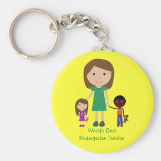 World's Best Kindergarten Teacher Cute Cartoon Basic Round Button Key Ring