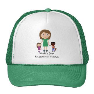 World's Best Kindergarten Teacher Cute Cartoon Cap