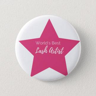 World's best lash artist 6 cm round badge