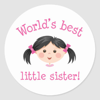 Worlds best little sister - asian girl classic round sticker