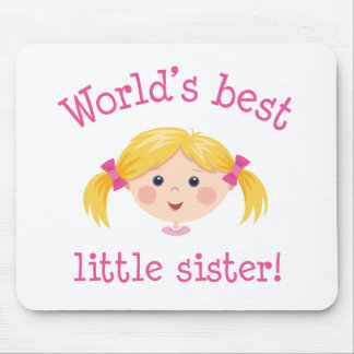 Worlds best little sister - blond hair mouse pad