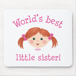 Worlds best little sister - red haired girl mousepads