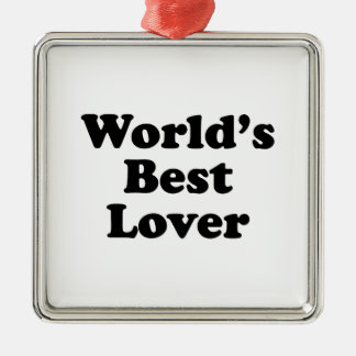 World's Best Lover Silver-Colored Square Decoration