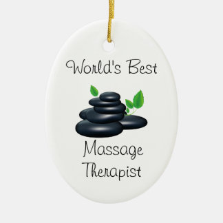 World's Best massage therapist Ceramic Ornament