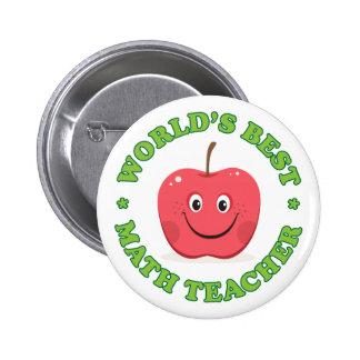 Worlds best math teacher pinback button, red apple 6 cm round badge