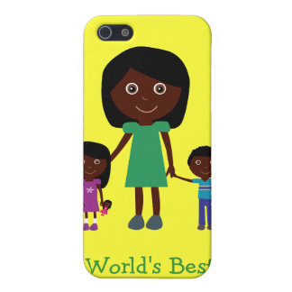 World's Best Mom Cute Ethnic Cartoon Characters Cover For iPhone 5/5S