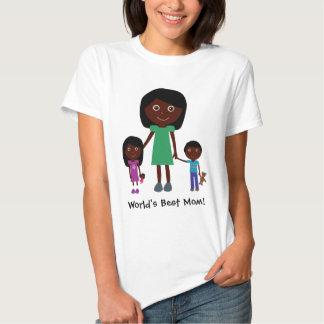 World's Best Mom Cute Ethnic Cartoon Characters T-shirt