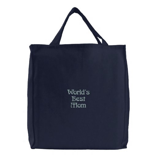 World's Best Mom Embroidered Bags