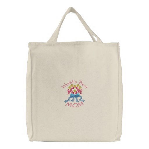 World's Best Mom Embroidered Tote Canvas Bags