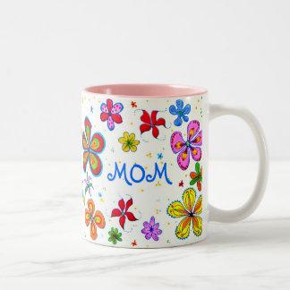 World's Best Mom Illustrated Two-Tone Mug