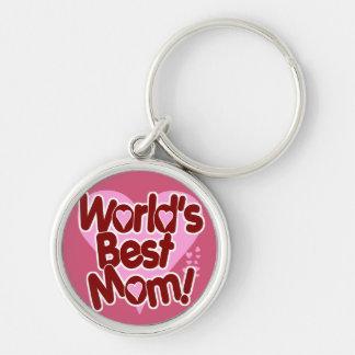 World's BEST Mom! Silver-Colored Round Keychain