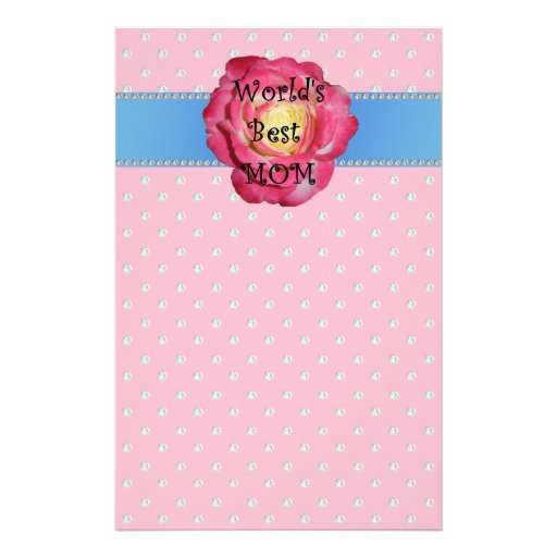 World's best mom pink diamonds stationery paper