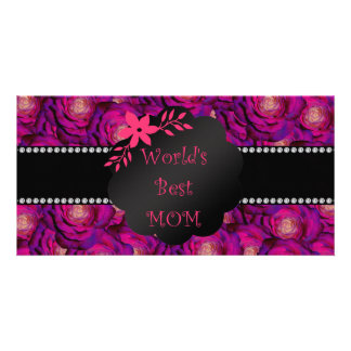 World's best mom pink roses photo cards