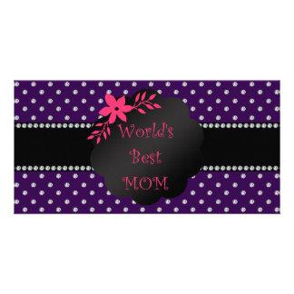 World's best mom purple diamonds photo cards