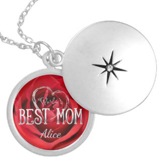 World's Best Mom | Red Rose Silver Plated Necklace