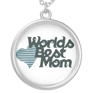 Worlds Best Mom Round Pendant Necklace