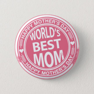 World's Best mom rubber stamp effect 6 Cm Round Badge