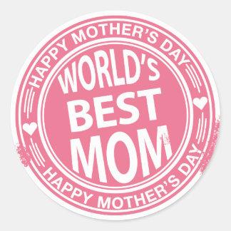 World's Best mom rubber stamp effect Classic Round Sticker