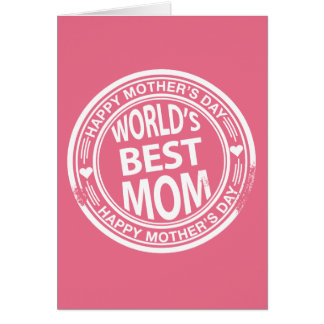 World's Best mom rubber stamp effect Greeting Card