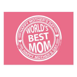 World's Best mom rubber stamp effect Postcard
