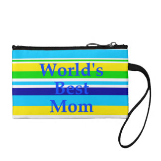Worlds Best Mom Summer Stripes Teal Lime Yellow Coin Wallets