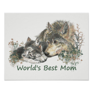 World's Best Mom Watercolor Wolf & Pups Poster
