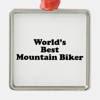 World's Best Mountain Biker Metal Ornament