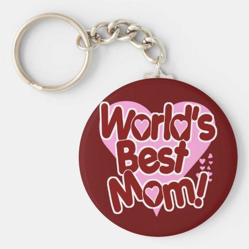 World's BEST Mum! Basic Round Button Key Ring