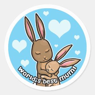 Worlds best Mum Bunny Round Sticker
