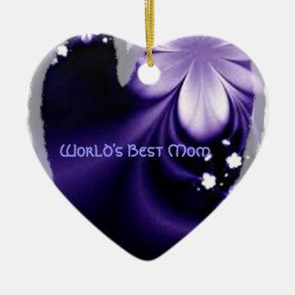 Worlds best mum purple flower heart ornament
