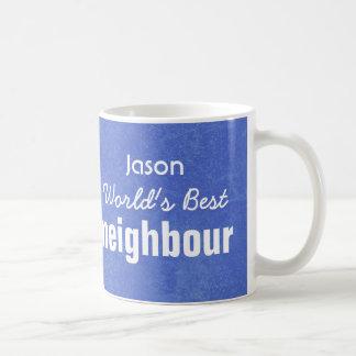 World's Best NEIGHBOUR Blue Custom Name JASON Basic White Mug
