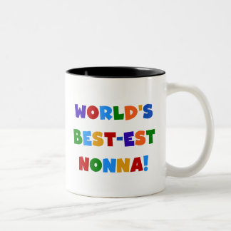World's Best Nonna Bright Colors T-shirts and Gift Two-Tone Coffee Mug