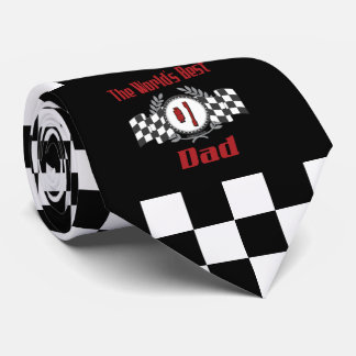 World's Best Number One Dad Racing Theme Tie