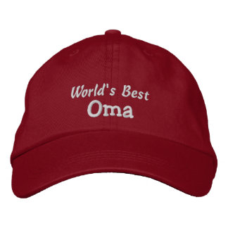 World's Best Oma-Grandparent's Day OR Birthday Embroidered Hats