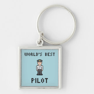 World's Best Pilot Silver-Colored Square Key Ring