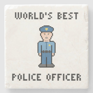 World's Best Pixel Policeman Stone Coaster